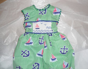 Size 18 Months, Smocked Baby Girl Bubble, Nautical Blue and Green