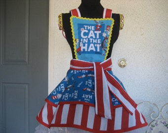 "Dr Seuss ""Cat in the Hat"" Girls Apron"