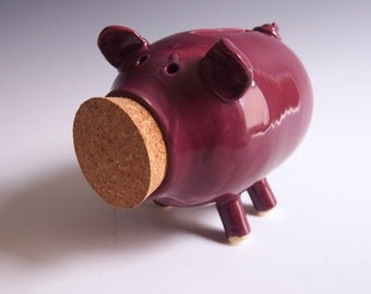 Wheel thrown ceramic piggybank- pink, cranberry color