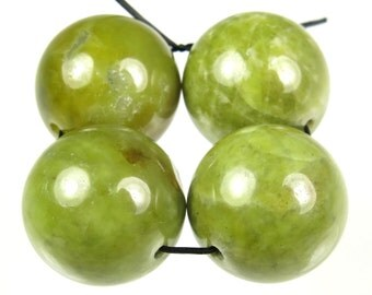 RESERVED for Roda - Unique Jade-Like Opaque Bowenite Noble Serpentine Large Round Bead - 16mm - 4 Pieces - B4703