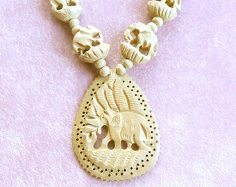 Vintage Carved Elephant Necklace Unusual and Unique