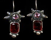 Filigree small red earrings