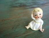 Ceramic Baby Figurine, Blonde Baby Figurine, Baby Gift, Porcelain Baby Figurine