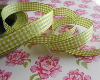 "Gingham Ribbon 5/8"" width Apple Green 5 Yards"