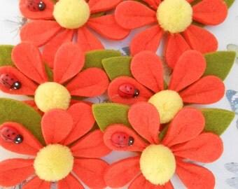 Felt Flowers Orange Appliques 6 pcs