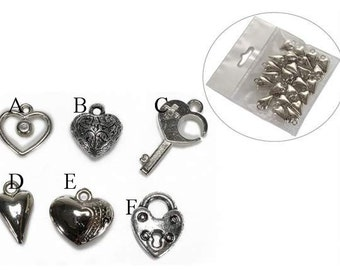 Hearts Metal Charms 36 pcs.