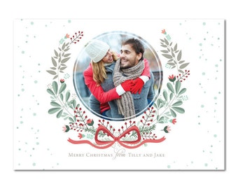 Photo Christmas Cards, Holiday Cards, Printed, Watercolor Wreath Cards, Family, Seasons Greetings, Classic, Sweet
