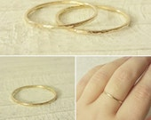 US Size 6.5 - Skinny Gold Stacking Ring - Size 6.5 Gold Ring - Thin 14k Gold Layer Ring - Minimal Gold Ring - Hammered Gold Ring