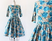 1950s Rose Print Dress / Copper and Blue Floral Dress / 1950s Party Dress / 1950s Full Skirt / Extra Small / Small / 26 Waist