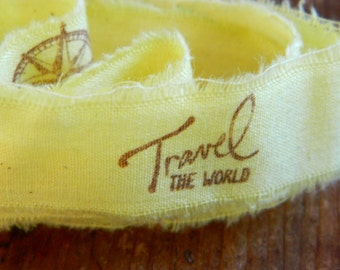 Journey Hand stamped and distressed cotton Ribbon- Travel the world - 2 yards long 1 inch wide