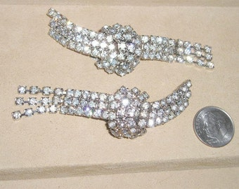 Vintage Pair Of Clear Rhinestone Shoe Clips 1950's Jewelry  2232