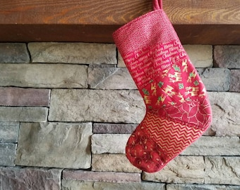 OOAK Patchwork Christmas Stocking RED and Gold Christmas Stocking  Quilted Stocking 2
