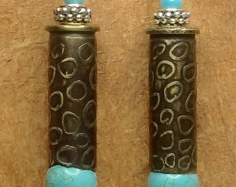 Earrings made from .38 cal Bullet Casings and Turquoise Beads