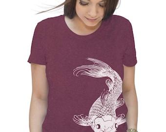 Womens Koi Fish T-Shirt - Gifts For Her- Fishing Shirt - Fish Tshirt - Nautical Beach - Koi Gift - S M L Xl 2X
