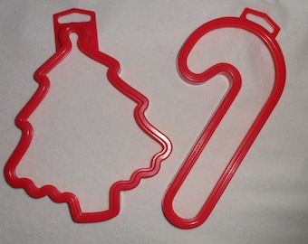 Vintage Cookie Cutters Amscan Harrison Christmas Tree Candy Cane Holiday Christmas in July