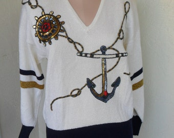 Vintage Sweater Pullover Nautical Beaded Sequin Knit Sailor
