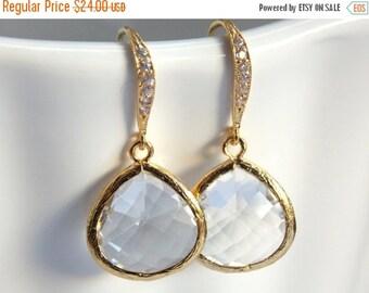 SALE Glass Earrings, Crystal, Clear Earrings, Gold, Bride Earrings, Bridesmaid Earrings, Wedding Jewelry, Bridal Earrings, Bridesmaid Gifts