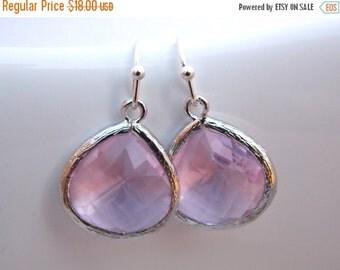 SALE Pink Earrings, Glass Earrings, Rose Earrings, Silver Earrings, Soft Pink, Bridesmaid Earrings, Bridal Earrings Jewelry, Bridesmaid Gift