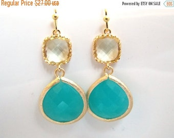 SALE Aqua Blue Earrings, Mint Blue, Yellow Earrings, Gold Earrings, Wedding, Bridesmaid Earrings, Bridal Jewelry, Bridesmaid Gifts