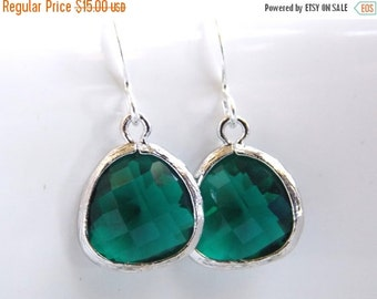 SALE Green Earrings, Silver Earrings, Emerald Green, Petite, Bridesmaid Earrings, Bridal Earrings Jewelry, Bridesmaid Gifts