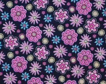 C2049B - 140cmx100cm Cotton Fabric - Flowers on deep blue