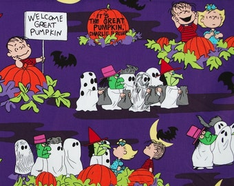 C212 - 145cmx100cm SDLP Cotton Fabric - Cartoon - The Great Pumpkin, Charlie Brown,ghost and bat