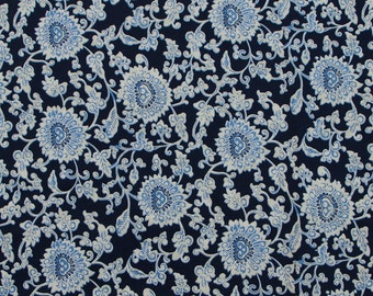 C2048A - 140cmx100cm Cotton Fabric - Flowers on deep blue
