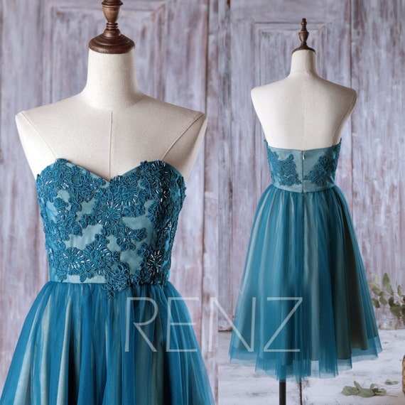 Teal Wedding Gown: Dark Teal Bridesmaid Dress Tulle Wedding Dress Lace