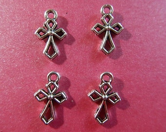 4 Pc Cross Small Antiqued Silver Plated Brass Two-Sided Charm Charms Jewelry 13mm x 10mm