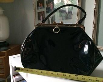 Vintage Black Patent Large Handbag