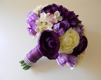 Purple, Eggplant, Plum, Sangria, Lilac, Ivory Combo Bridal Bouquet