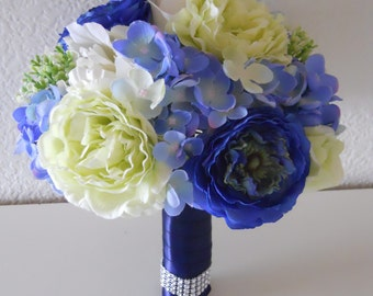 Shade of Blue, Green and Ivory Bridal Bouquet