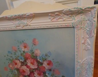 Antique white stunning floral baroque canvas art framed picture