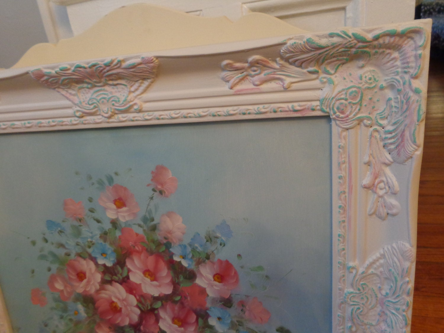 Antique white stunning floral baroque canvas art framed