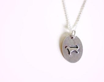 Silver Dog Necklace, Soldered Charm Silhouette Jewelry, Labrador Jewlery, Tiny Dog Pendant Pet Memorial Jewlery