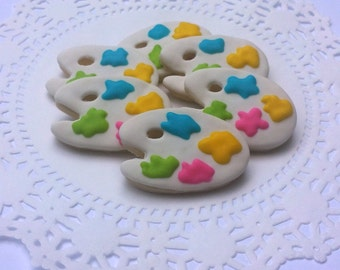Mini Artist Palette Sugar Cookies - 2 1/2 Dozen Mini Cookies - Painting Party