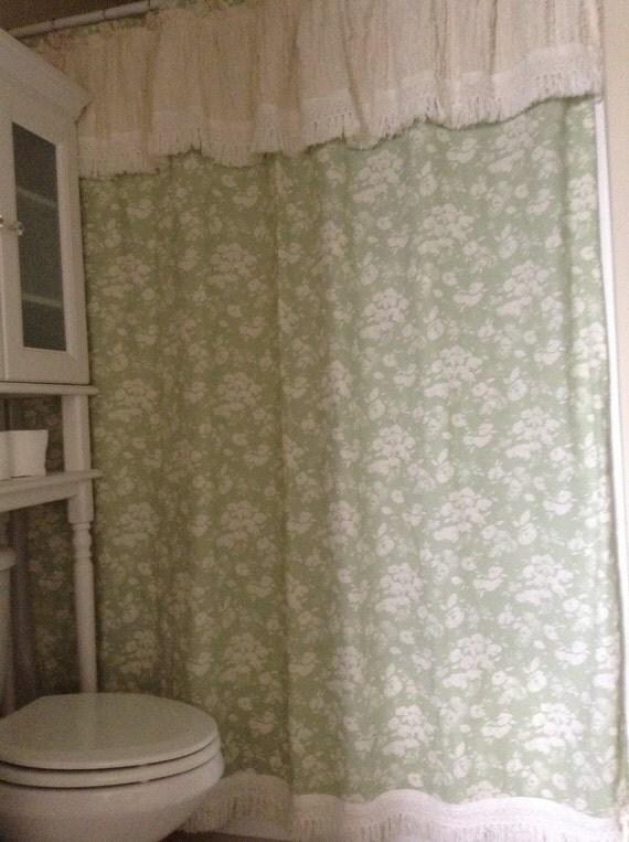 Chenille Shower Curtain Shabby Chic Or Farmhouse Decor