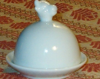 Vintage Cow Butter Dish, Domed, White Porcelain, Nice for Buffet with Your Bread and Cheese