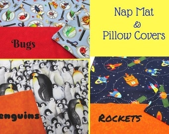 Boys Nap Mat Cover Sets - Motorcycles Bugs Penguins Rockets - Matching Pillow Case - Envelope Back Pillow Case - Back to School Nap Time