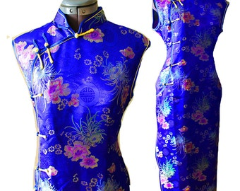 VTG 100% SILK Asian Floral Botanical Lotus Embroidered Long Chinese cheongsam wiggle maxi dress L