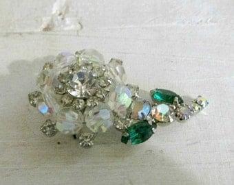 Rhinestone & Clear Glass Brooch, Flower Design, Dimensional Brooch, Statement Jewelry, Women Accessories