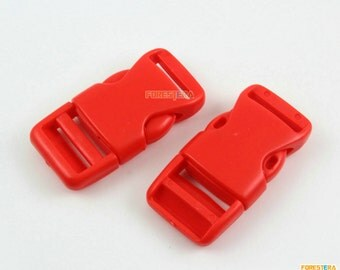 30 Pieces 20mm Red Plastic Side Quick Release Buckle Clip for Backpack Bag (RBCNO48)