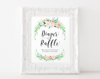 """Instant Download - Delicate Bouquet Diaper Raffle Sign 8""""x10"""" - Pink Floral Garden Theme, Girl Baby Shower, Game"""
