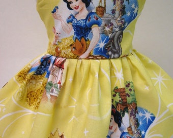 Snow White and the Seven Dwarfs on Yellow Sleeveless Dress for your American Girl Doll A
