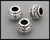 25 TIBETAN Style 9mm Rondelle Tube Beads - 9x7mm Antiqued SILVER w/ Large 3.6mm Hole Metal Spacer Beads - Instant Ship from USa - 6670