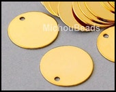 25 GOLD 15mm Drops - Flat Round Blank STAMPING Disc Charm - Stamping Findings / Pendant / Coin - Instant Ship - USA Wholesale Beads - 5564