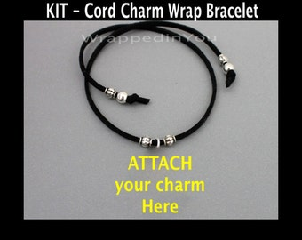 DIY KIT - Charm Wrap Bracelet on Faux Suede Cord - Pick COLOR / Length - Jewelry Design Kit Ready to attach Charm - Instant Ship  Usa seller