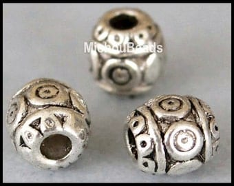 5 SILVER 6mm Barrel Beads - 6x5.75mm Antiqued Silver Tibetan Style Round Large 2.1mm Hole - Boho Metal Beads - Instant Ship from USA - 5449