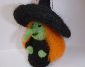 needle felted Halloween witch ornament - tree ornament - holiday ornament - witch sculpture - witch art doll - in stock and ready to ship