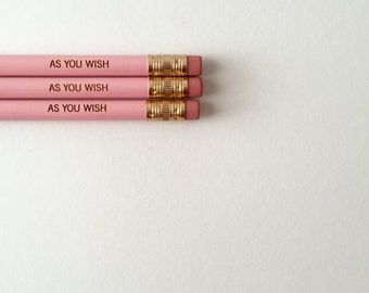 As you wish pastel pink pencil set of 3. engraved pencils. Princess bride stocking stuffers.